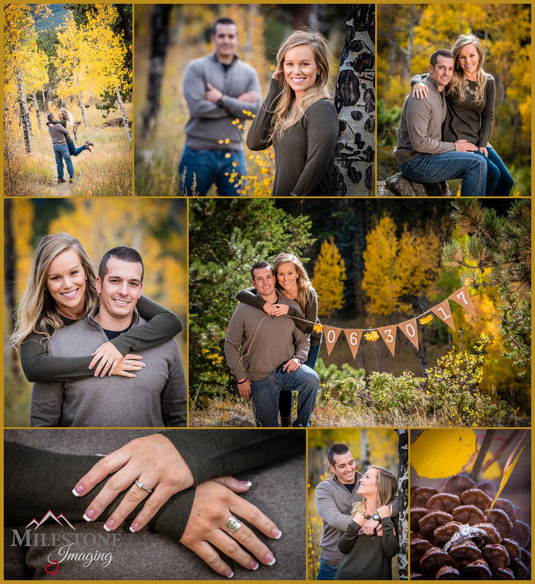 Fall color engagement photos by Denver Wedding Photographer Tom Miles of Milestone Imaging