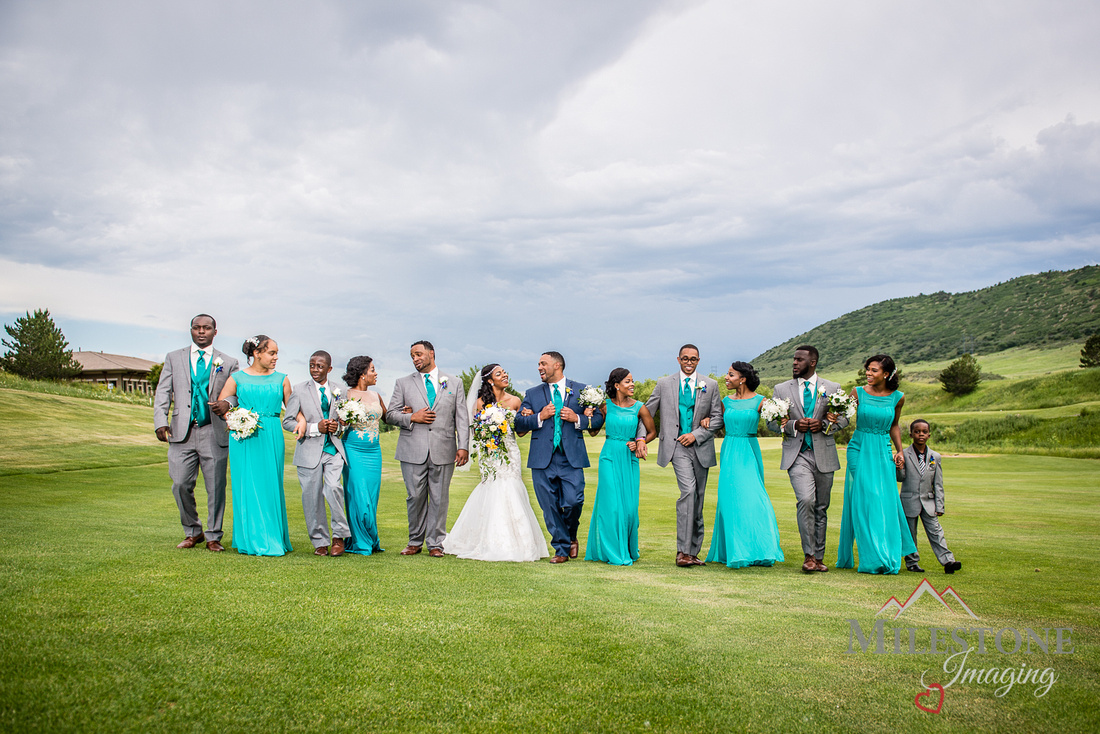 Wedding party photograph by Denver Wedding Photographers, Milestone Imaging