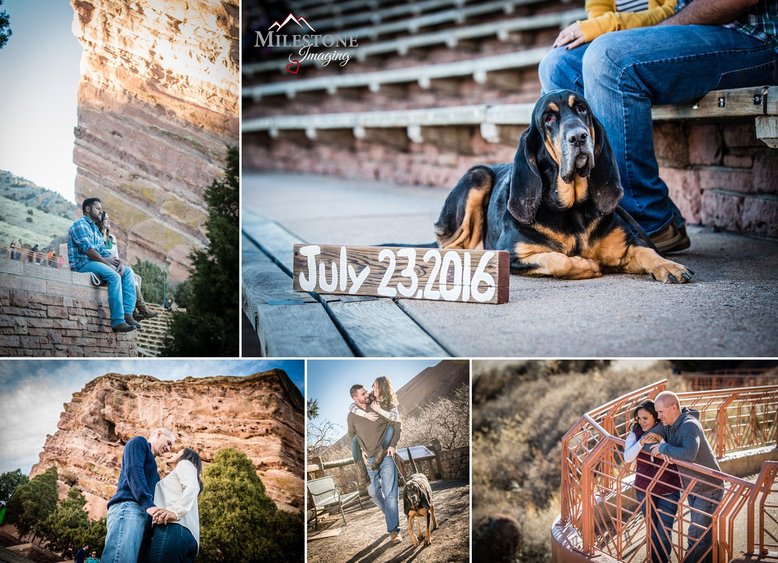 Red Rocks engagement photos by Denver Wedding Photographer Tom Miles of Milestone Imaging
